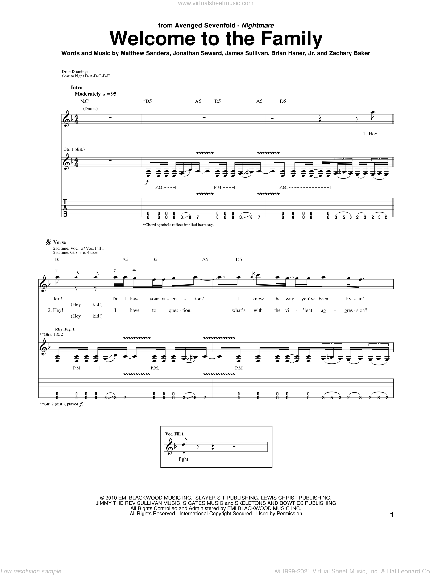 Welcome To The Family sheet music for guitar (tablature) by Avenged Sevenfold, Brian Haner, Jr., James Sullivan, Jonathan Seward, Matthew Sanders and Zachary Baker, intermediate skill level