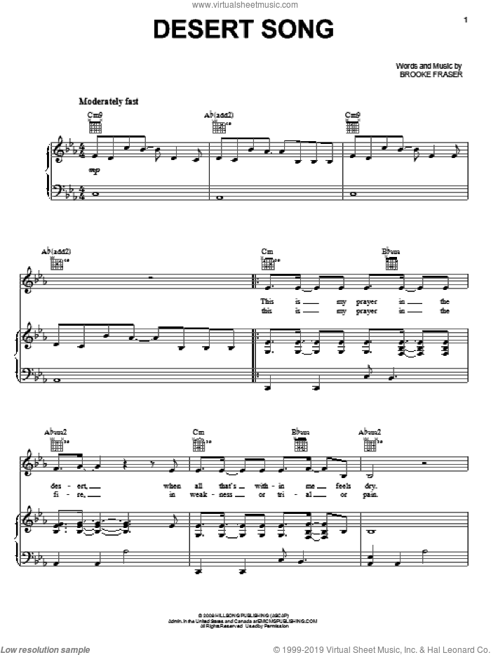 Desert Song sheet music for voice, piano or guitar by Natalie Grant and Brooke Fraser, intermediate. Score Image Preview.