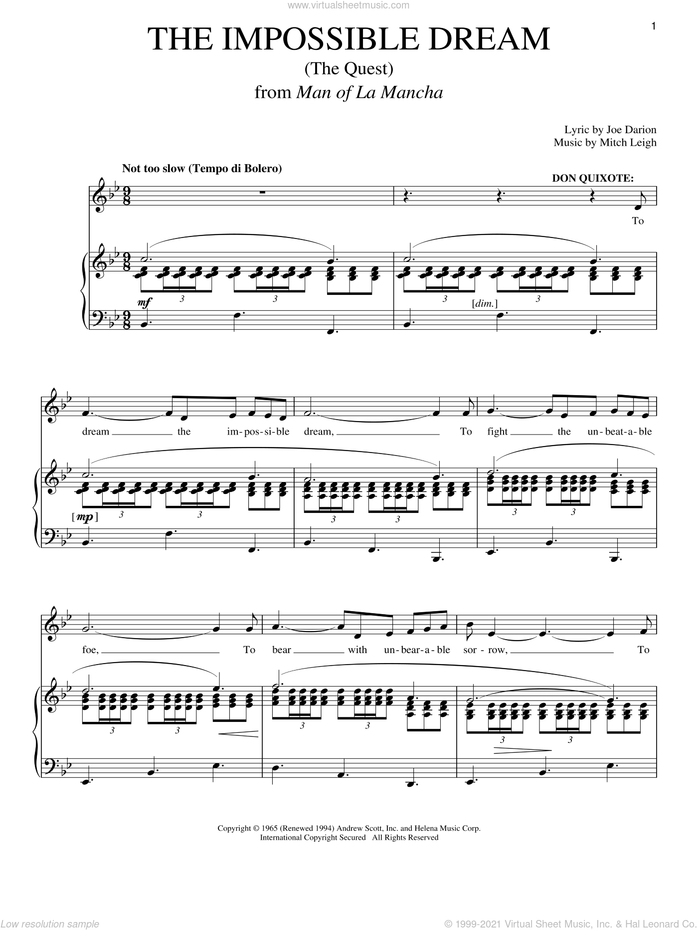 The Impossible Dream (The Quest) sheet music for voice and piano by Joe Darion, Man Of La Mancha (Musical), Richard Walters and Mitch Leigh, intermediate skill level