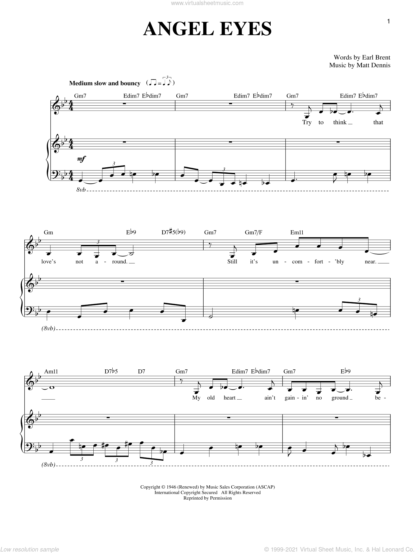 Angel Eyes sheet music for voice and piano by Matt Dennis and Earl Brent, intermediate voice. Score Image Preview.
