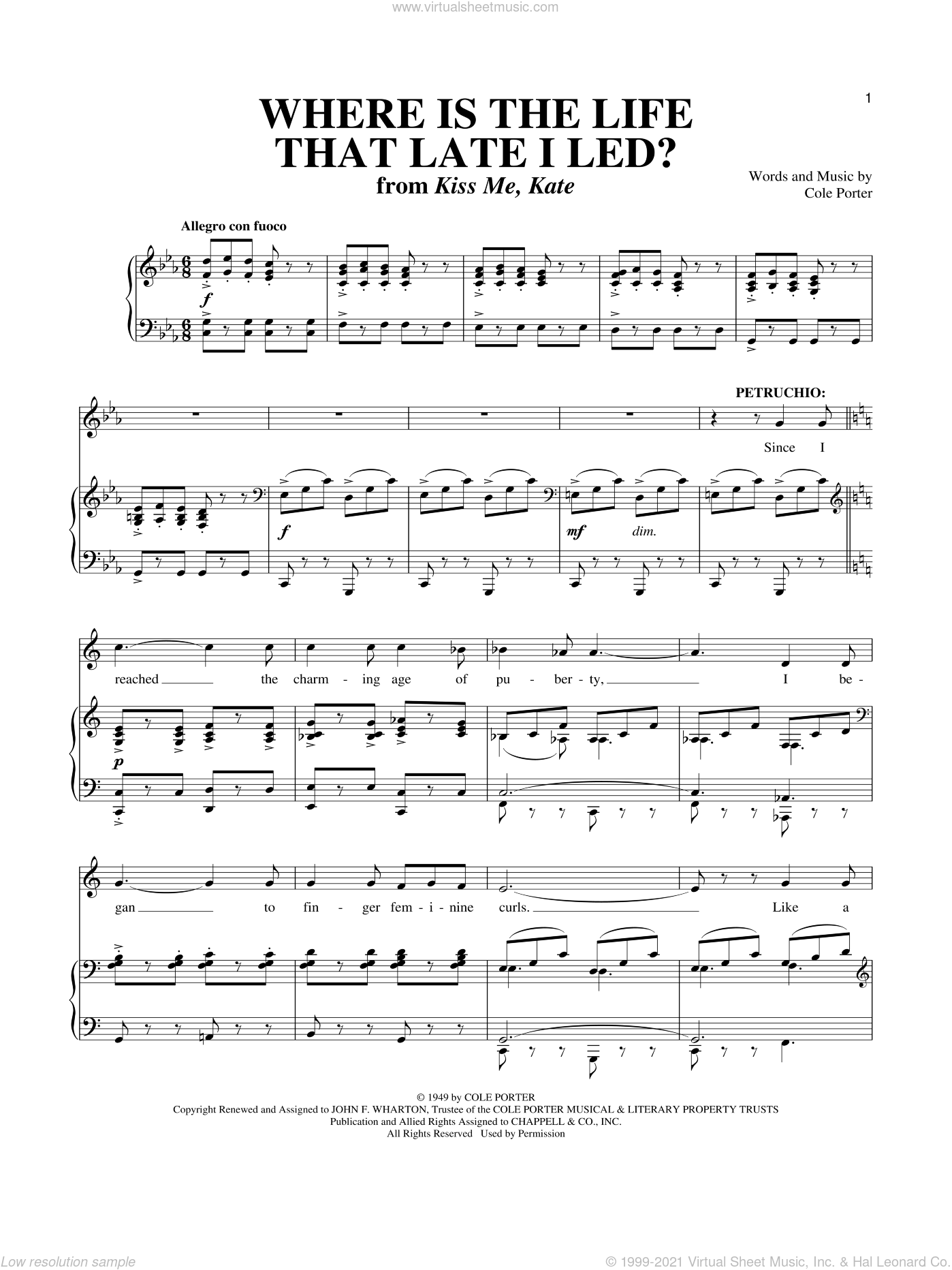 Where Is The Life That Late I Led? (from Kiss Me, Kate) sheet music for voice and piano by Cole Porter, Kiss Me, Kate (Musical) and Richard Walters, intermediate skill level