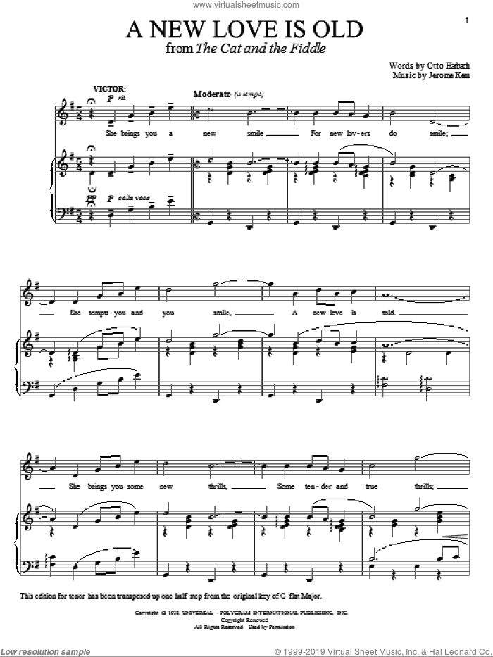 A New Love Is Old sheet music for voice and piano by Jerome Kern, Richard Walters and Otto Harbach, intermediate voice. Score Image Preview.