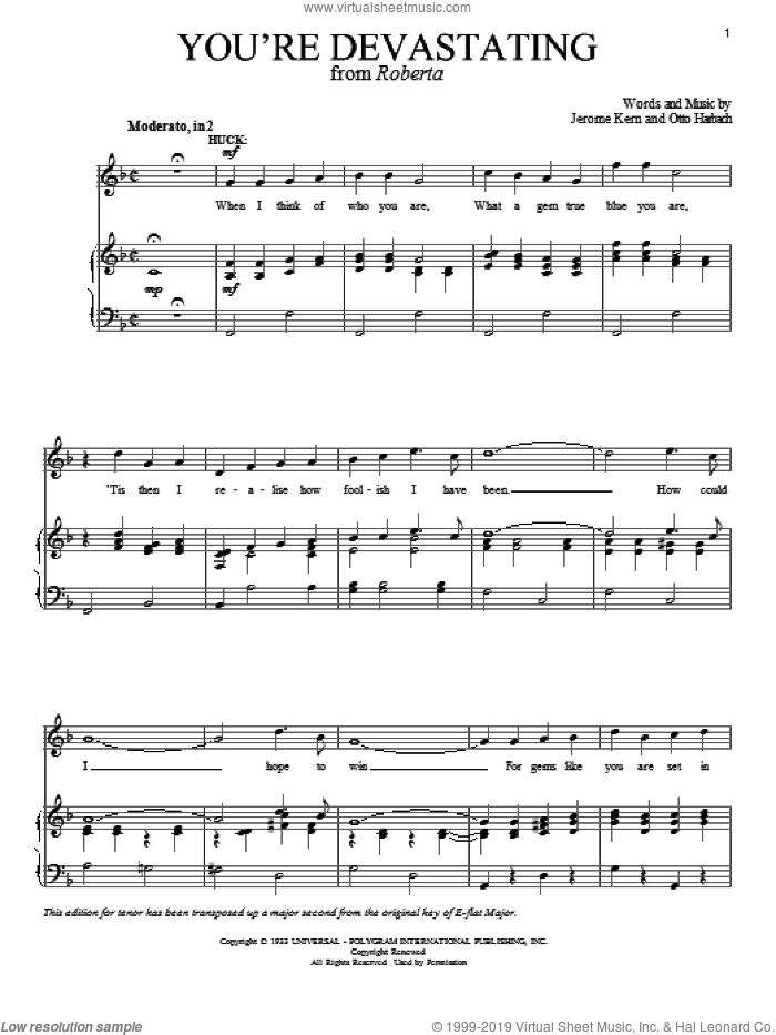 You're Devastating sheet music for voice and piano by Jerome Kern, Richard Walters and Otto Harbach, intermediate skill level