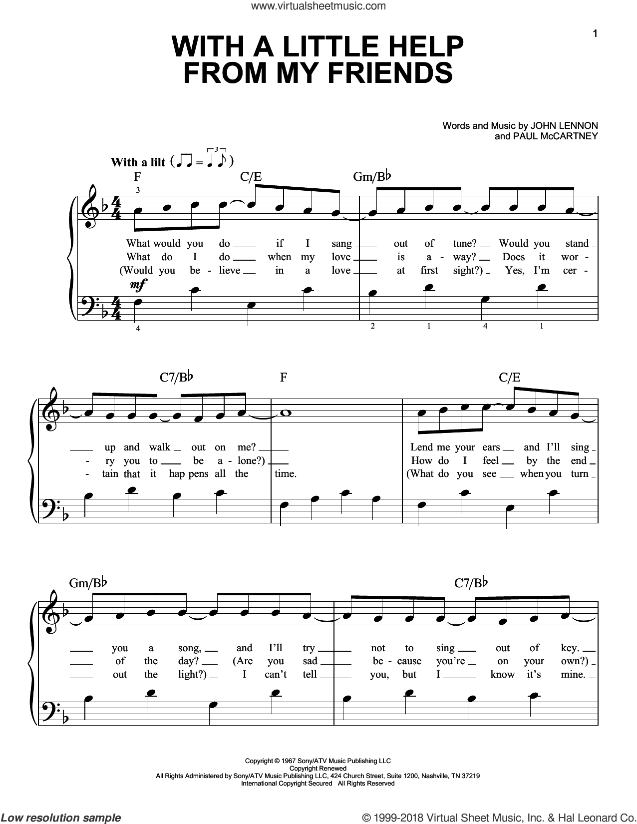 With A Little Help From My Friends, (beginner) sheet music for piano solo by The Beatles, Across The Universe (Movie), Joe Cocker, John Lennon and Paul McCartney, beginner skill level