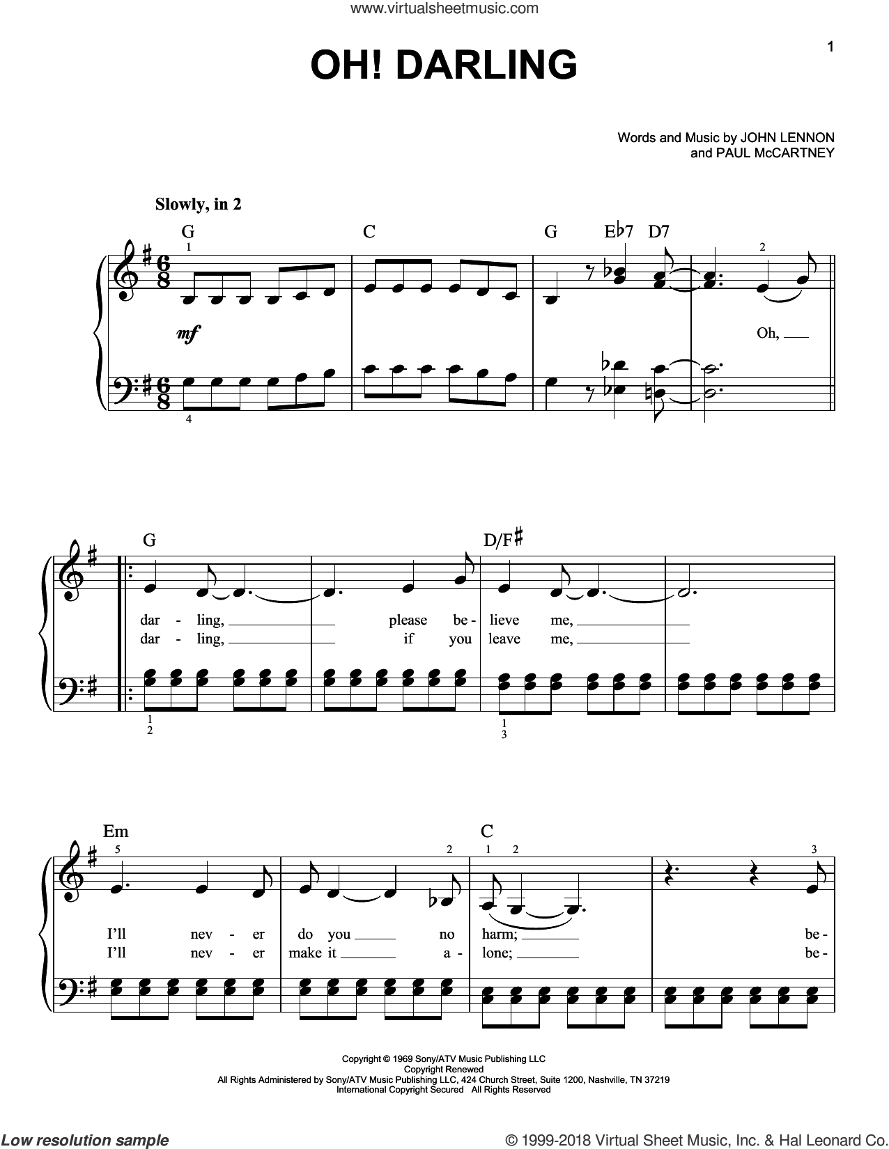 Oh! Darling sheet music for piano solo by The Beatles, Across The Universe (Movie), John Lennon and Paul McCartney, easy skill level