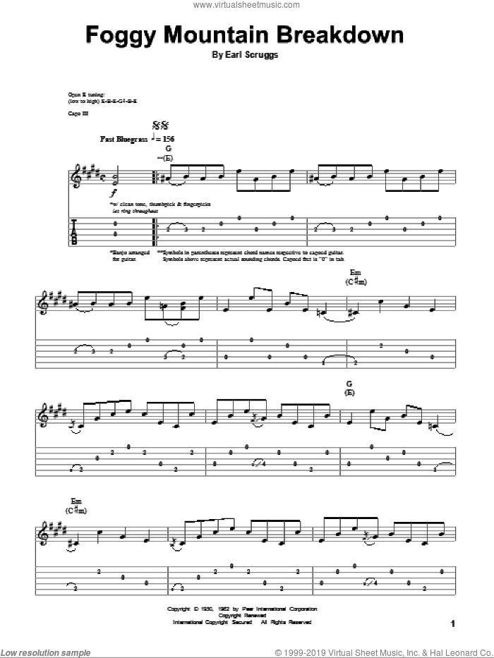 Foggy Mountain Breakdown sheet music for guitar (tablature, play-along) by Flatt & Scruggs, Lester Flatt and Earl Scruggs. Score Image Preview.