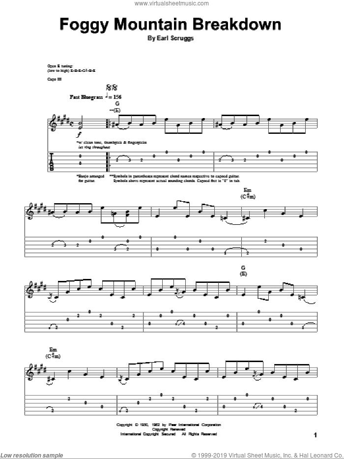 Foggy Mountain Breakdown sheet music for guitar (tablature, play-along) by Flatt & Scruggs, Lester Flatt and Earl Scruggs, intermediate skill level