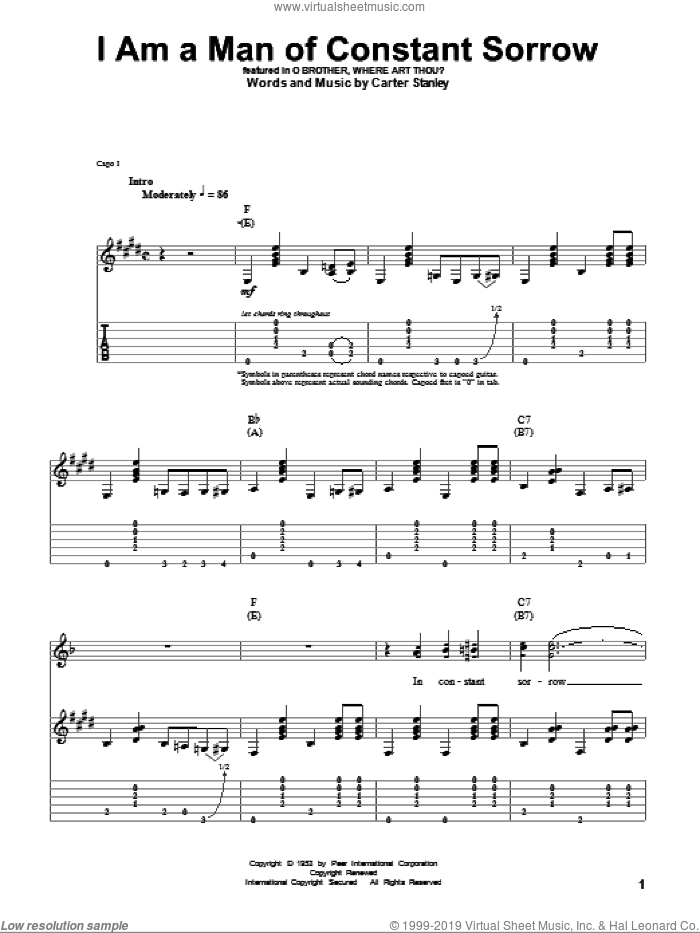 I Am A Man Of Constant Sorrow sheet music for guitar (tablature, play-along) by The Soggy Bottom Boys and Carter Stanley, intermediate. Score Image Preview.