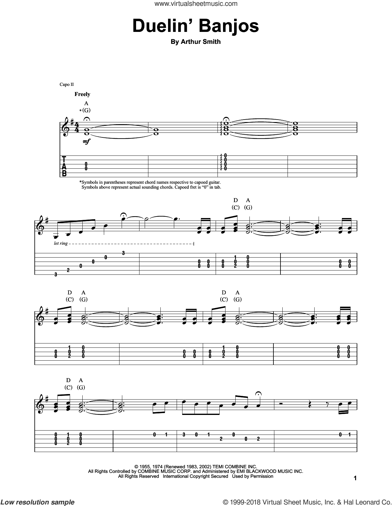 Duelin' Banjos sheet music for guitar (tablature, play-along) by Eric Weissberg & Steve Mandell, intermediate. Score Image Preview.