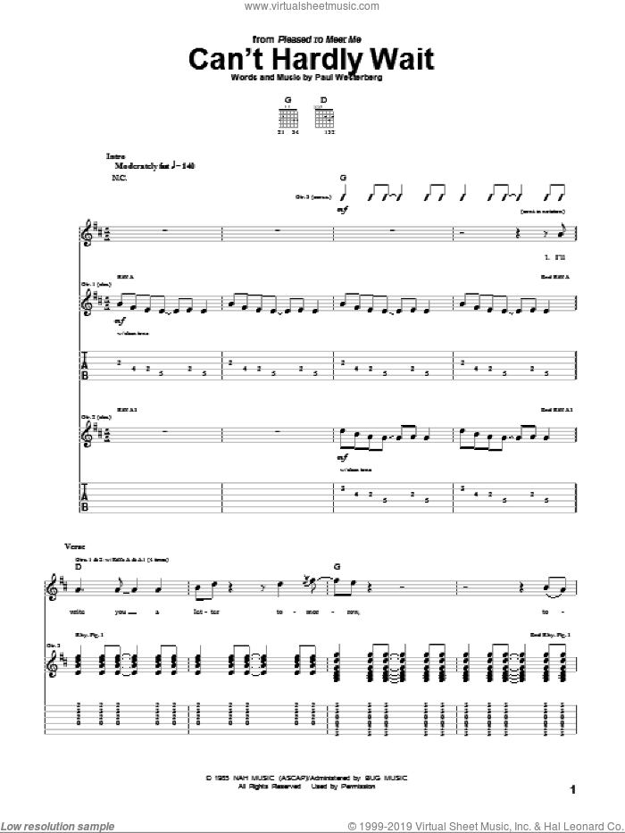 Can't Hardly Wait sheet music for guitar (tablature) by The Replacements