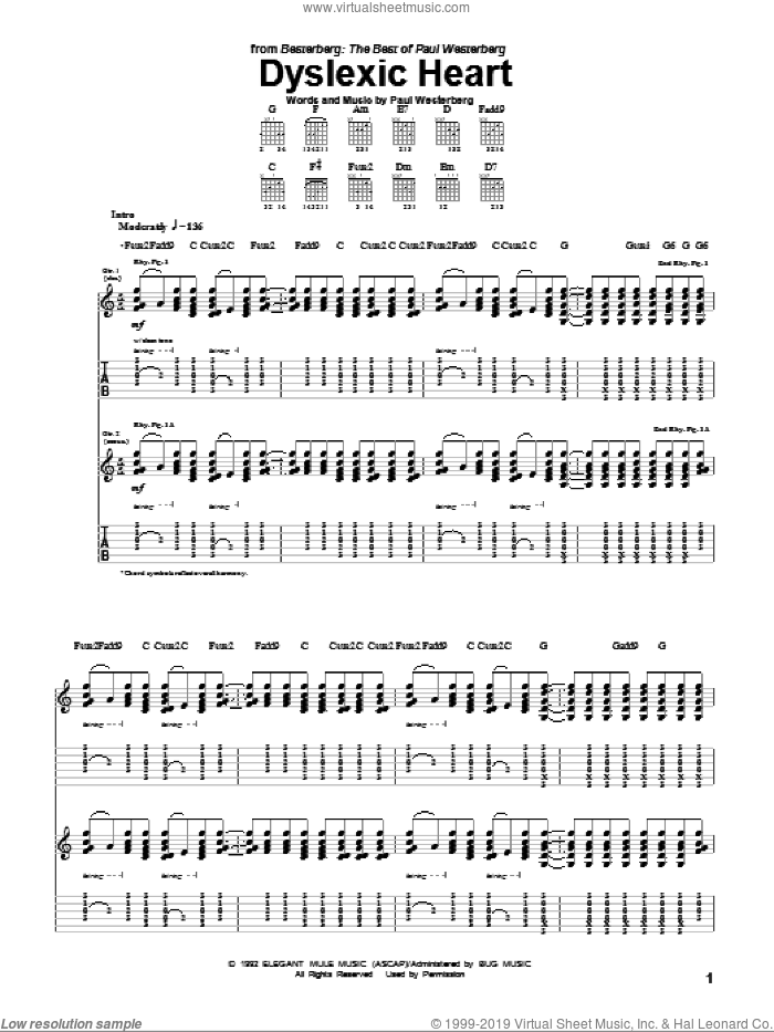 Dyslexic Heart sheet music for guitar (tablature) by The Replacements and Paul Westerberg. Score Image Preview.
