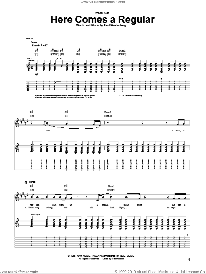Here Comes A Regular sheet music for guitar (tablature) by The Replacements and Paul Westerberg. Score Image Preview.