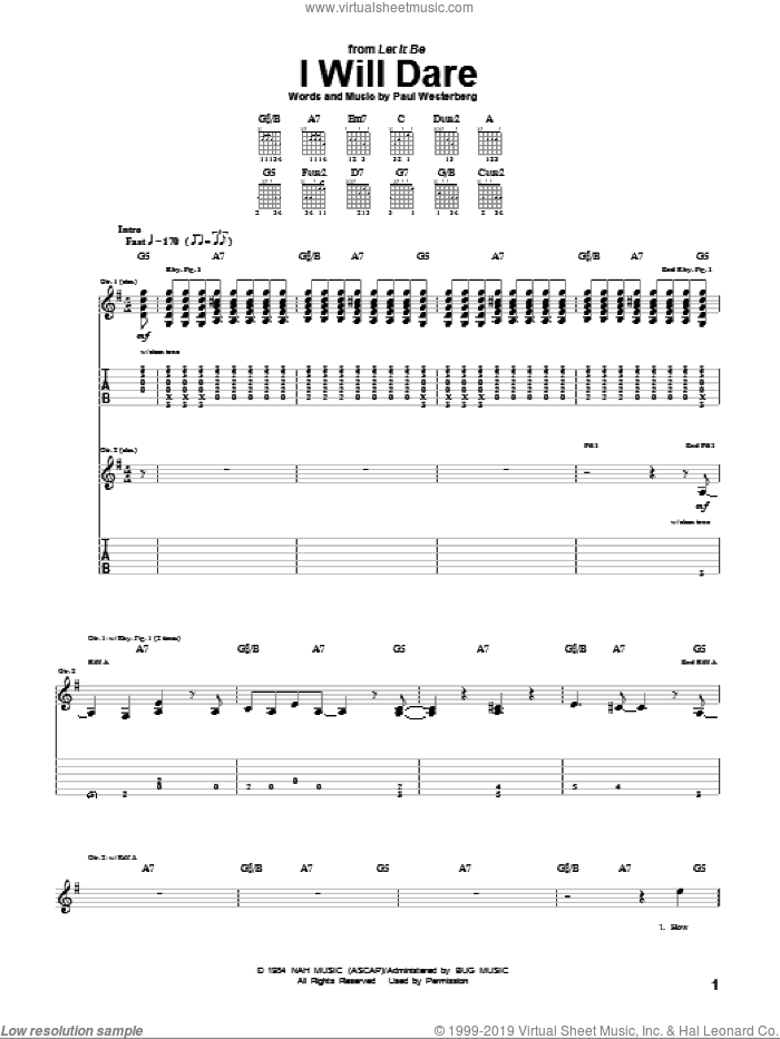 I Will Dare sheet music for guitar (tablature) by The Replacements and Paul Westerberg, intermediate. Score Image Preview.