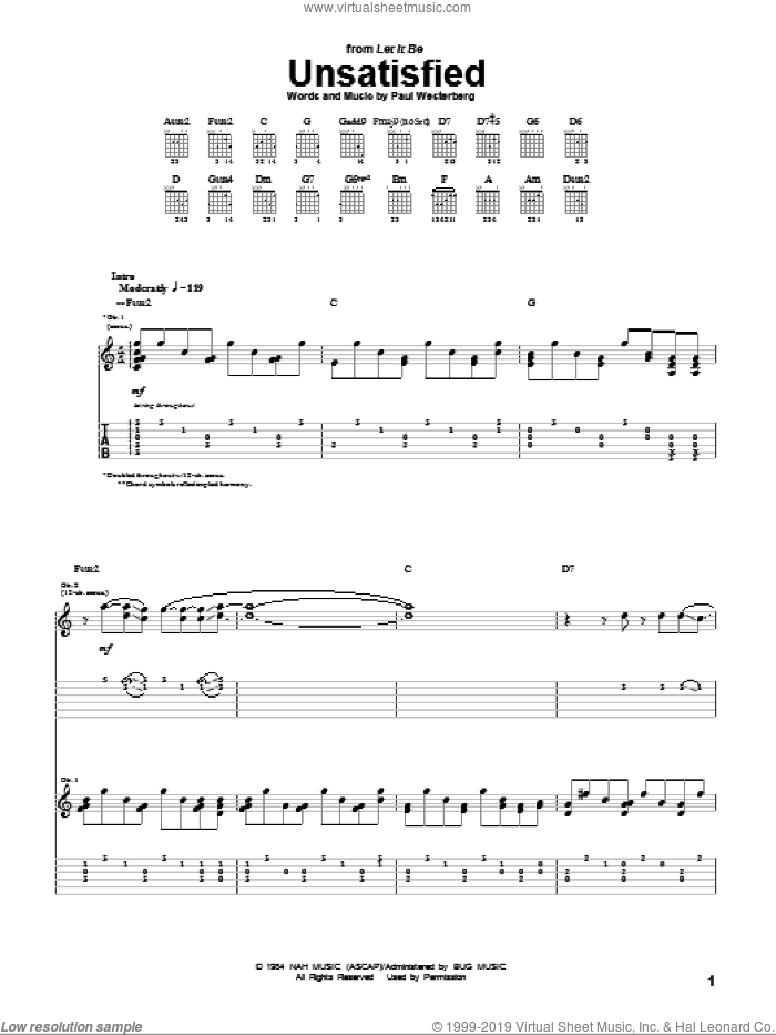 Unsatisfied sheet music for guitar (tablature) by The Replacements and Paul Westerberg, intermediate