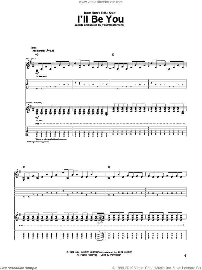 I'll Be You sheet music for guitar (tablature) by The Replacements and Paul Westerberg, intermediate skill level
