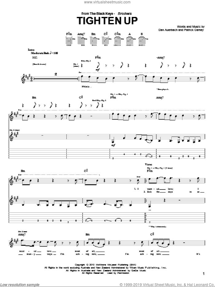 Tighten Up sheet music for guitar (tablature) by Patrick Carney and Daniel Auerbach. Score Image Preview.