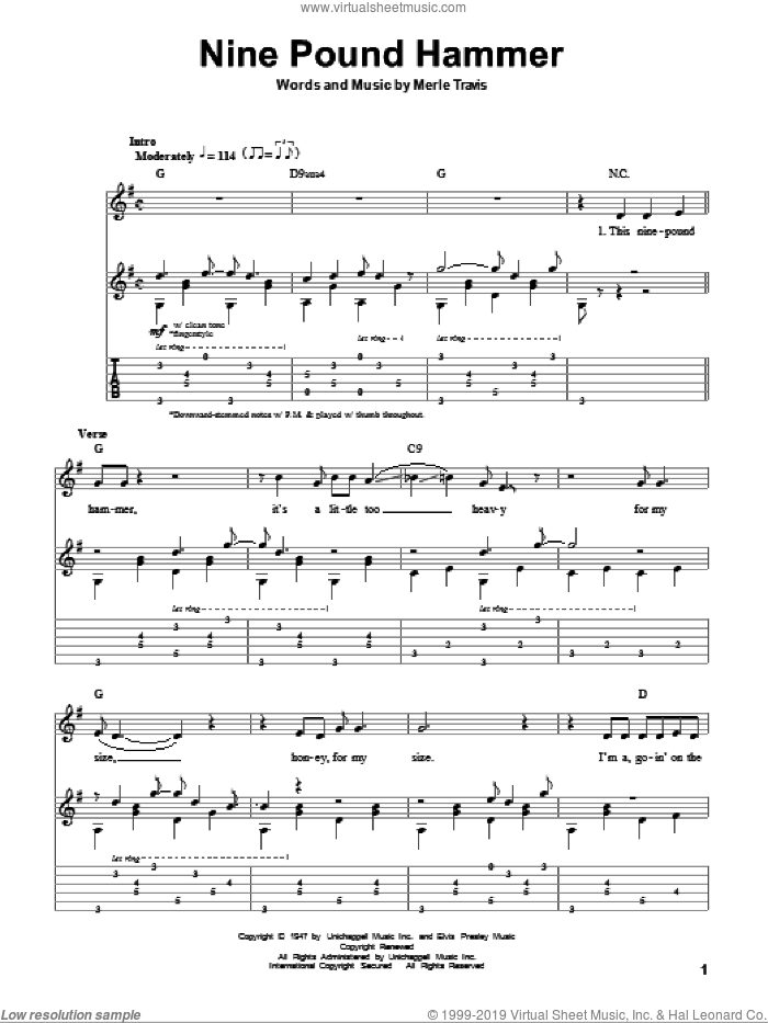 Nine Pound Hammer sheet music for guitar (tablature, play-along) by Merle Travis. Score Image Preview.