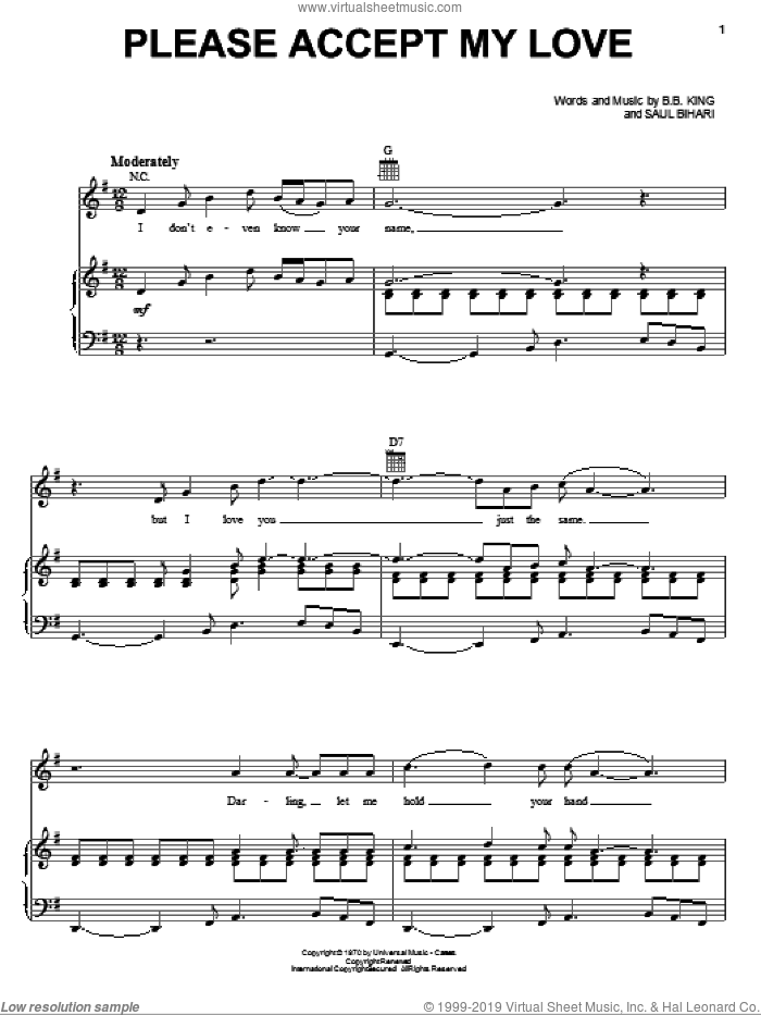 Please Accept My Love sheet music for voice, piano or guitar by B.B. King and Saul Bihari, intermediate skill level