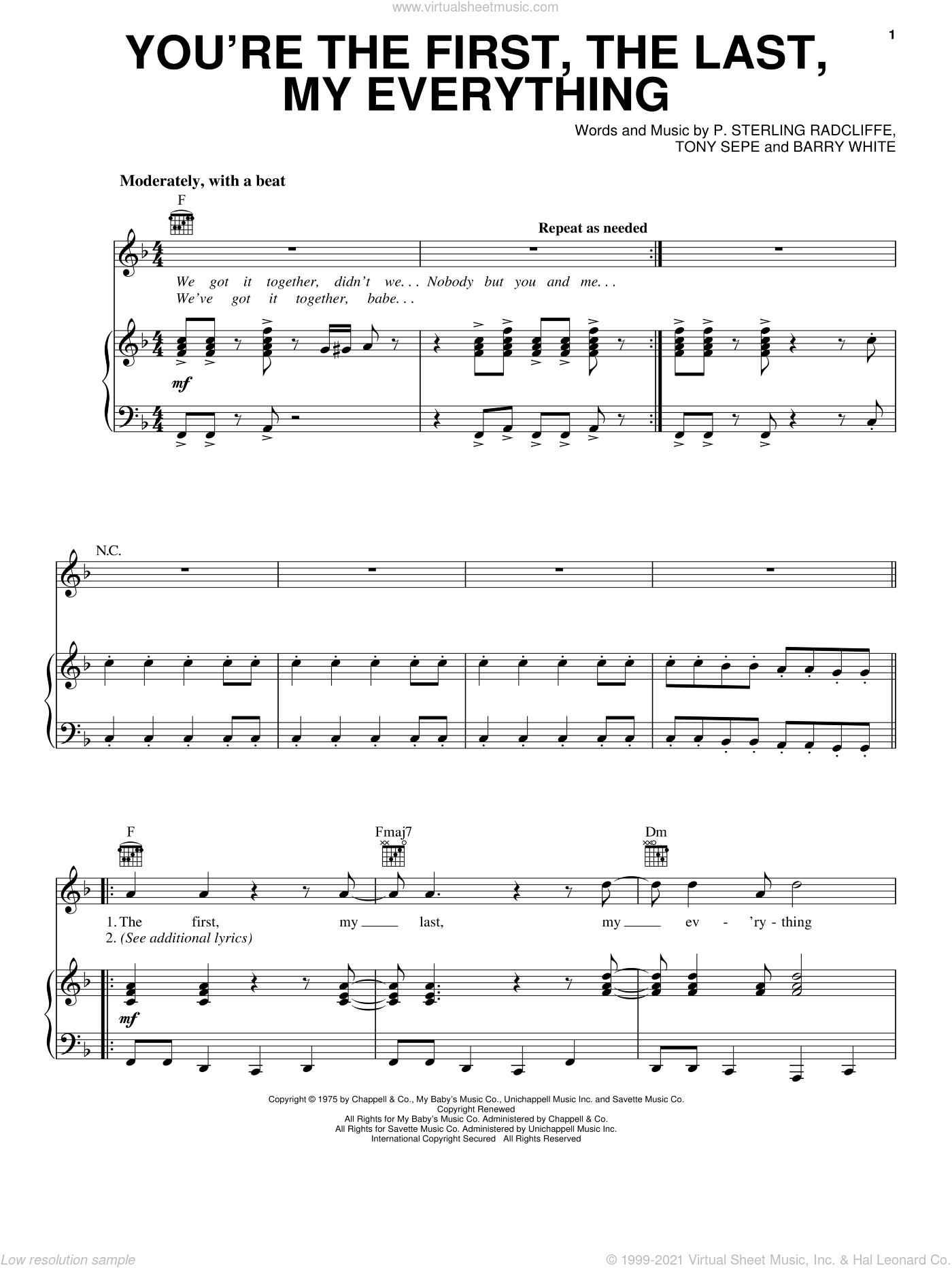 You're The First, The Last, My Everything sheet music for voice, piano or guitar by Barry White, P. Sterling Radcliffe and Tony Sepe, intermediate