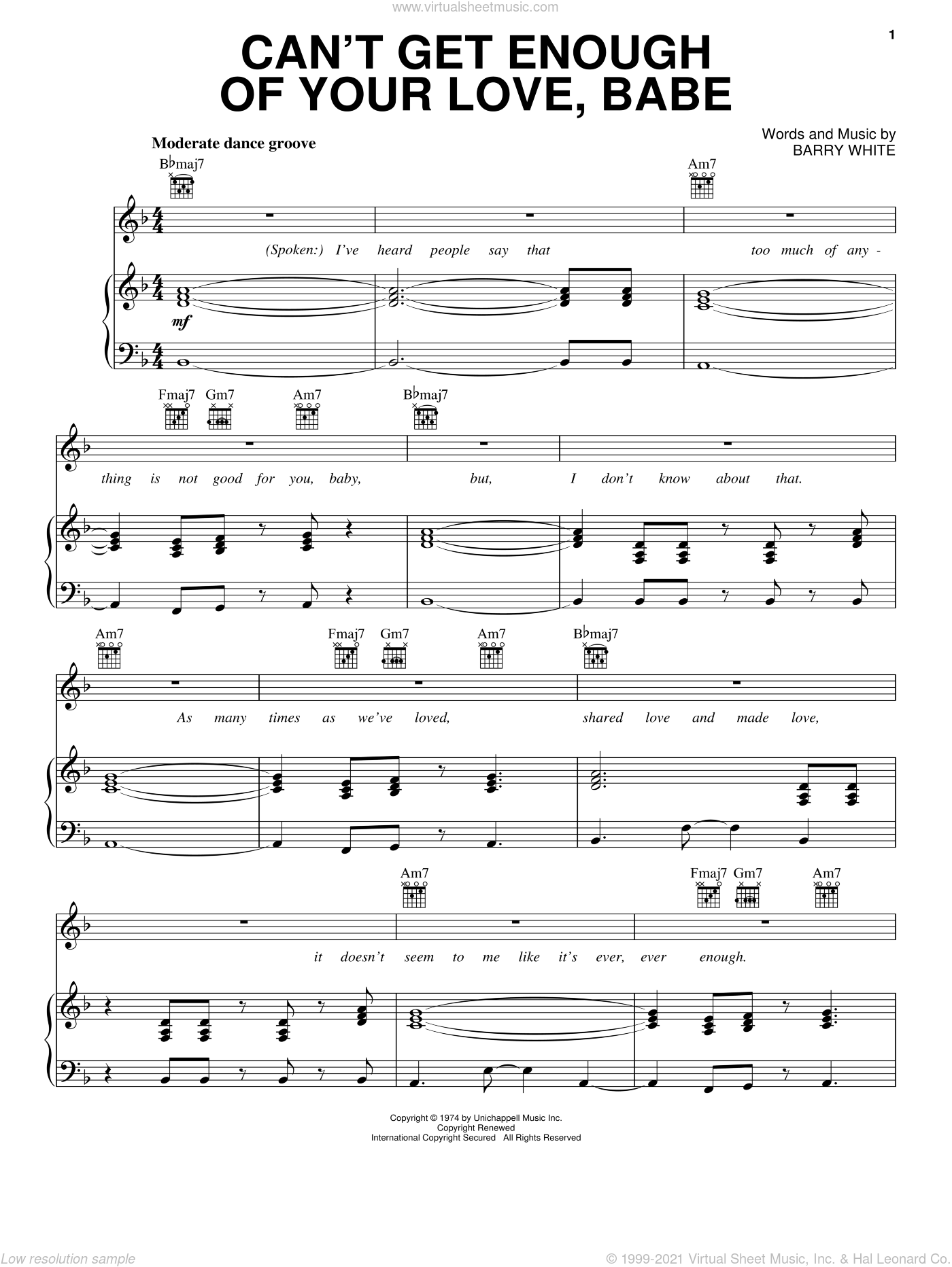 Can't Get Enough Of Your Love, Babe sheet music for voice, piano or guitar by Barry White. Score Image Preview.