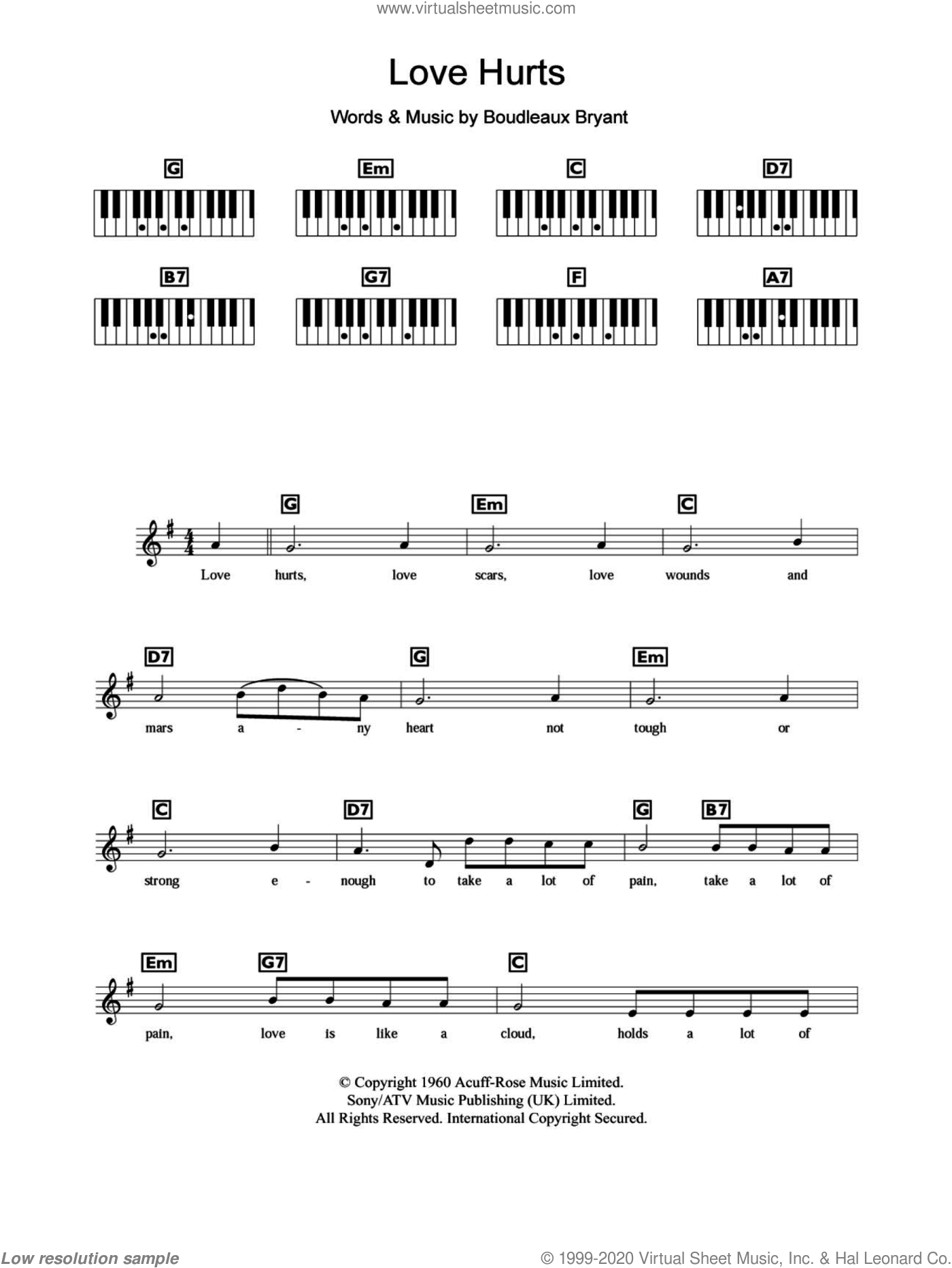 Love Hurts sheet music for piano solo (chords, lyrics, melody) by Boudleaux Bryant