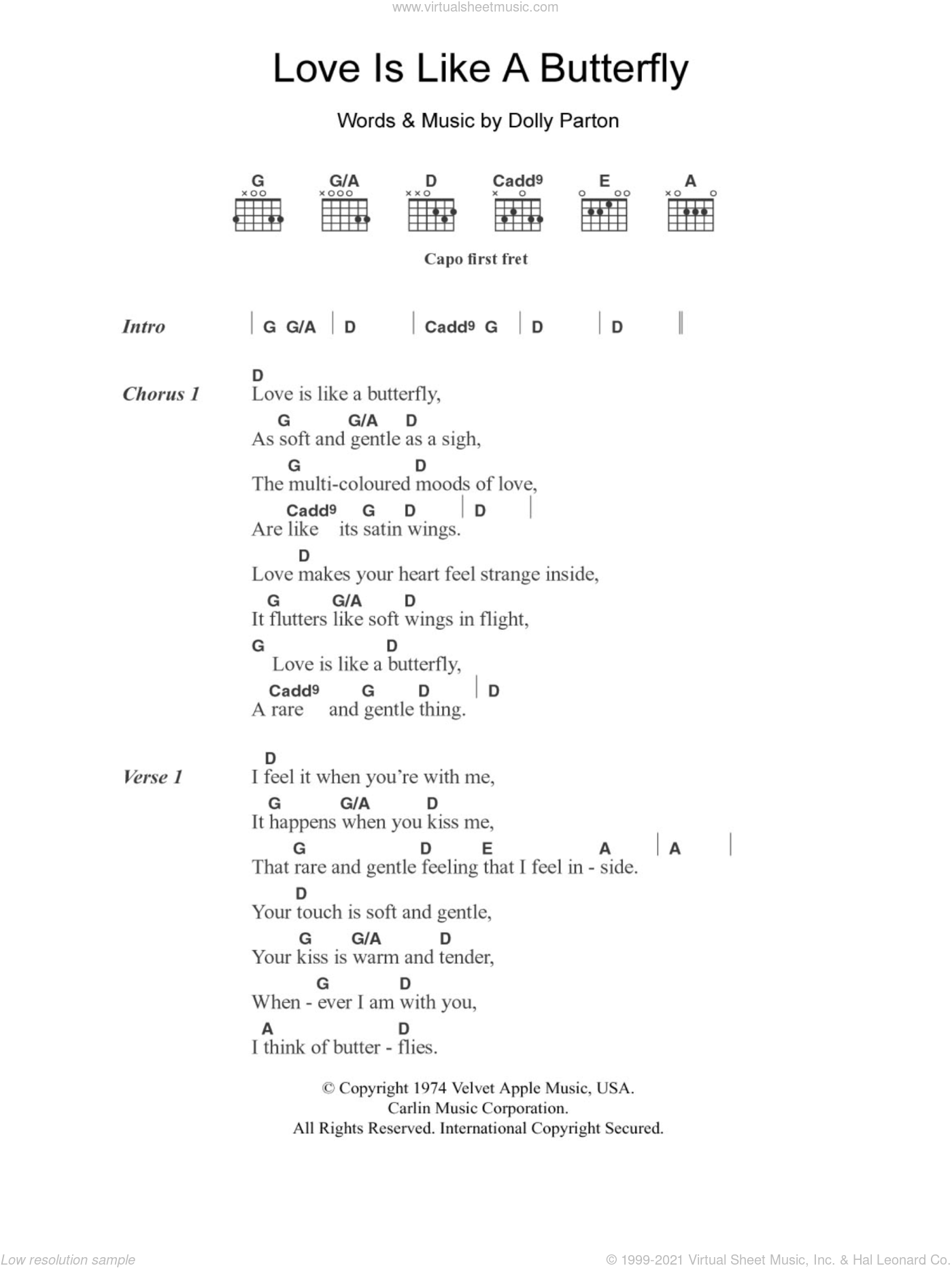 Love Is Like A Butterfly sheet music for guitar (chords, lyrics, melody) by Dolly Parton