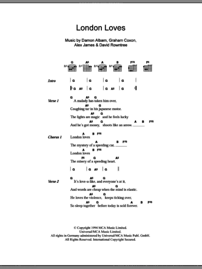 London Loves sheet music for guitar solo (chords, lyrics, melody) by Graham Coxon