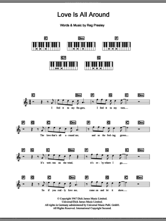 Love Is All Around sheet music for piano solo (chords, lyrics, melody) by Wet Wet Wet and The Troggs. Score Image Preview.