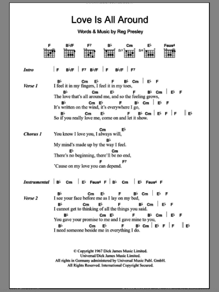 Love Is All Around sheet music for guitar (chords) by Reg Presley