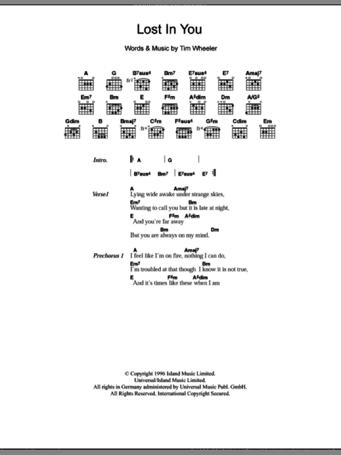 Lost In You sheet music for guitar (chords) by Tim Wheeler, intermediate