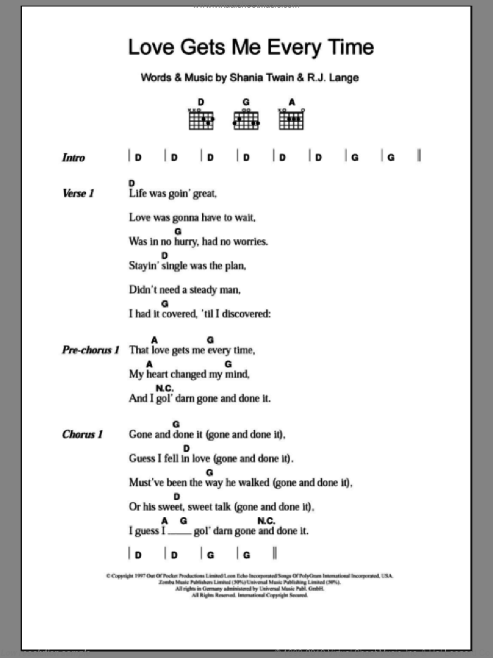 Love Gets Me Every Time sheet music for guitar (chords) by Robert John Lange and Shania Twain. Score Image Preview.