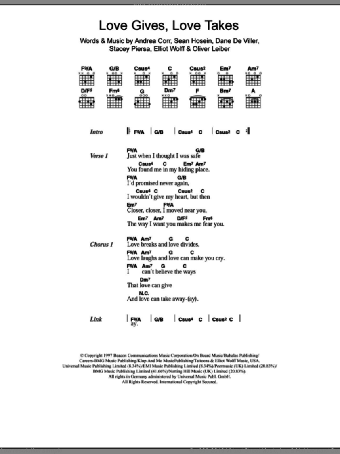 Love Gives Love Takes sheet music for guitar (chords) by Stacey Piersa