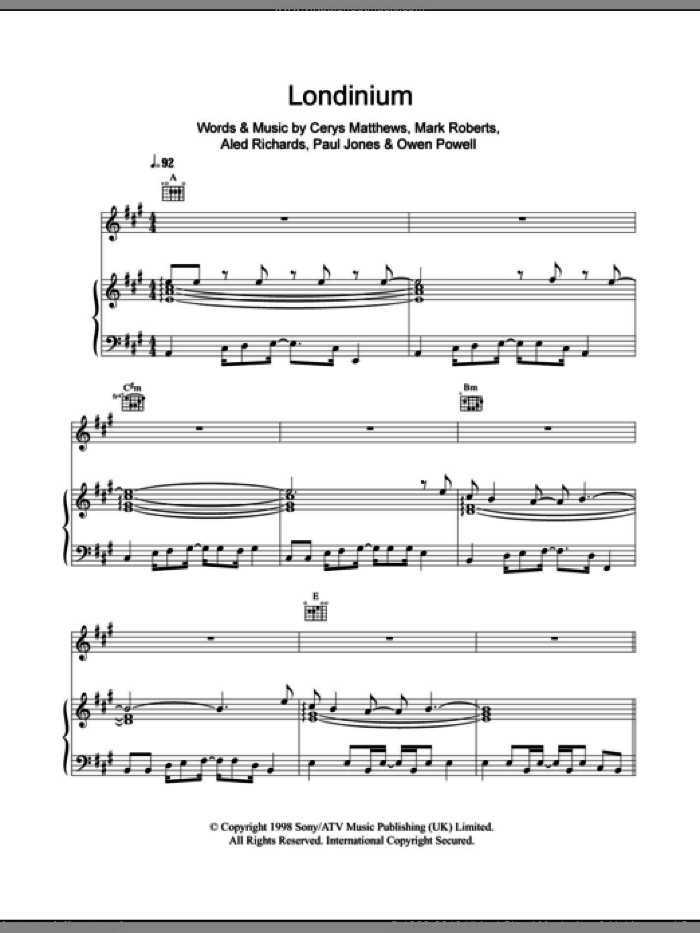 Londinium sheet music for voice, piano or guitar by Catatonia, Aled Richards, Cerys Matthews, Mark Roberts, Owen Powell and Paul Jones, intermediate. Score Image Preview.