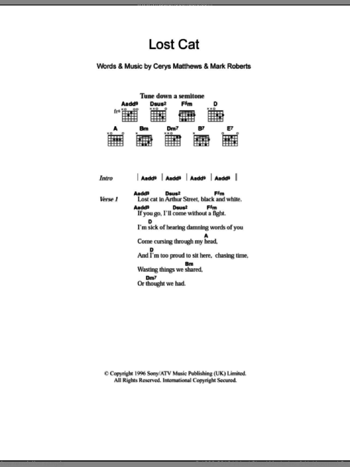 Lost Cat sheet music for guitar (chords) by Mark Roberts and Catatonia. Score Image Preview.