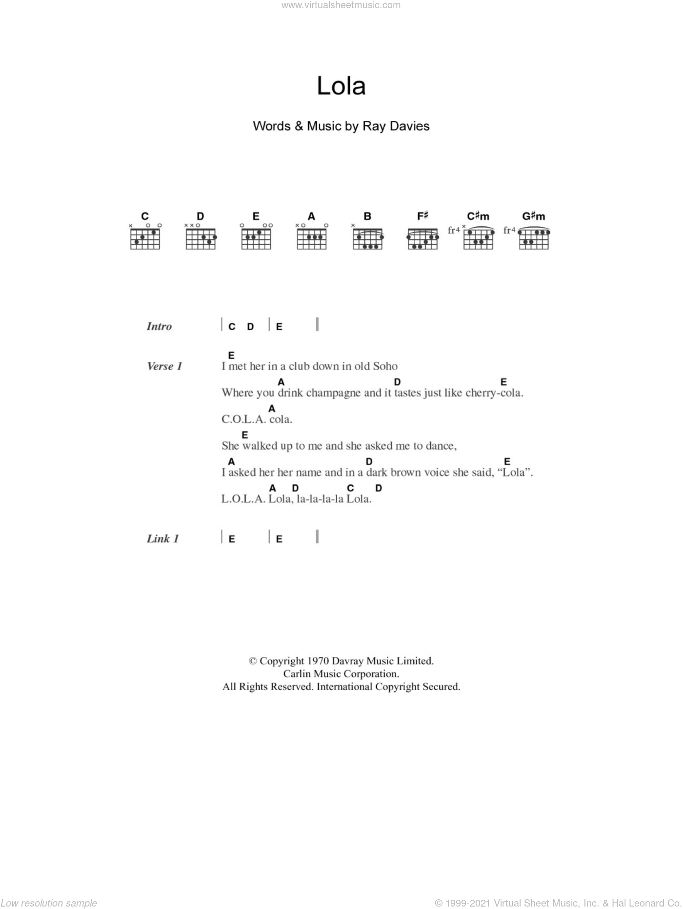 Lola sheet music for guitar (chords) by The Kinks and Ray Davies, intermediate. Score Image Preview.