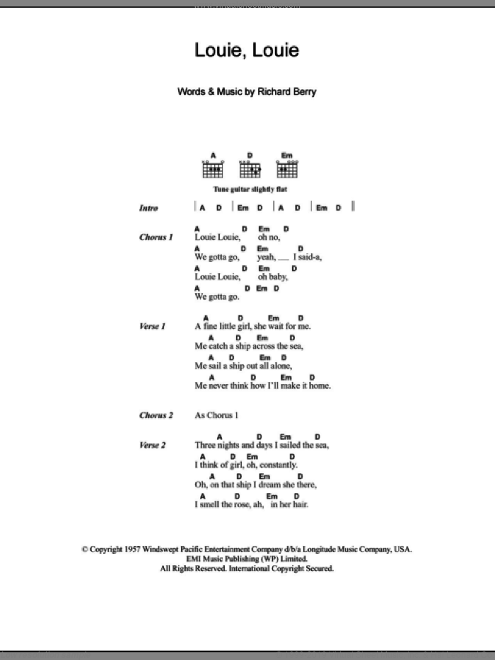 Louie Louie sheet music for guitar (chords) by The Kingsmen and Richard Berry, intermediate skill level