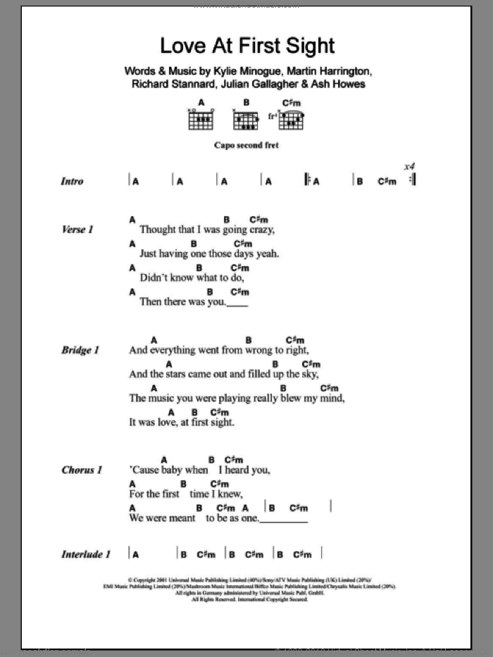 Love At First Sight sheet music for guitar (chords) by Kylie Minogue, Ash Howes, Julian Gallagher, Martin Harrington and Richard Stannard, intermediate skill level