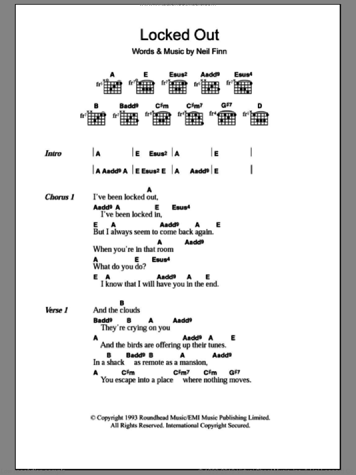 Locked Out sheet music for guitar (chords) by Neil Finn