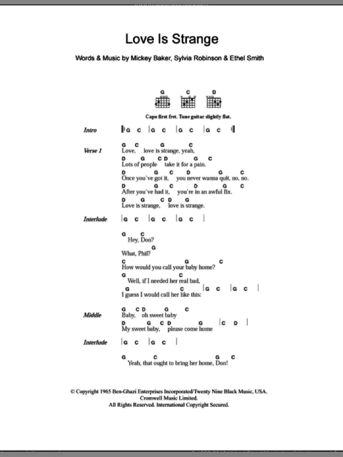 Love Is Strange sheet music for guitar (chords) by Sylvia Robinson. Score Image Preview.
