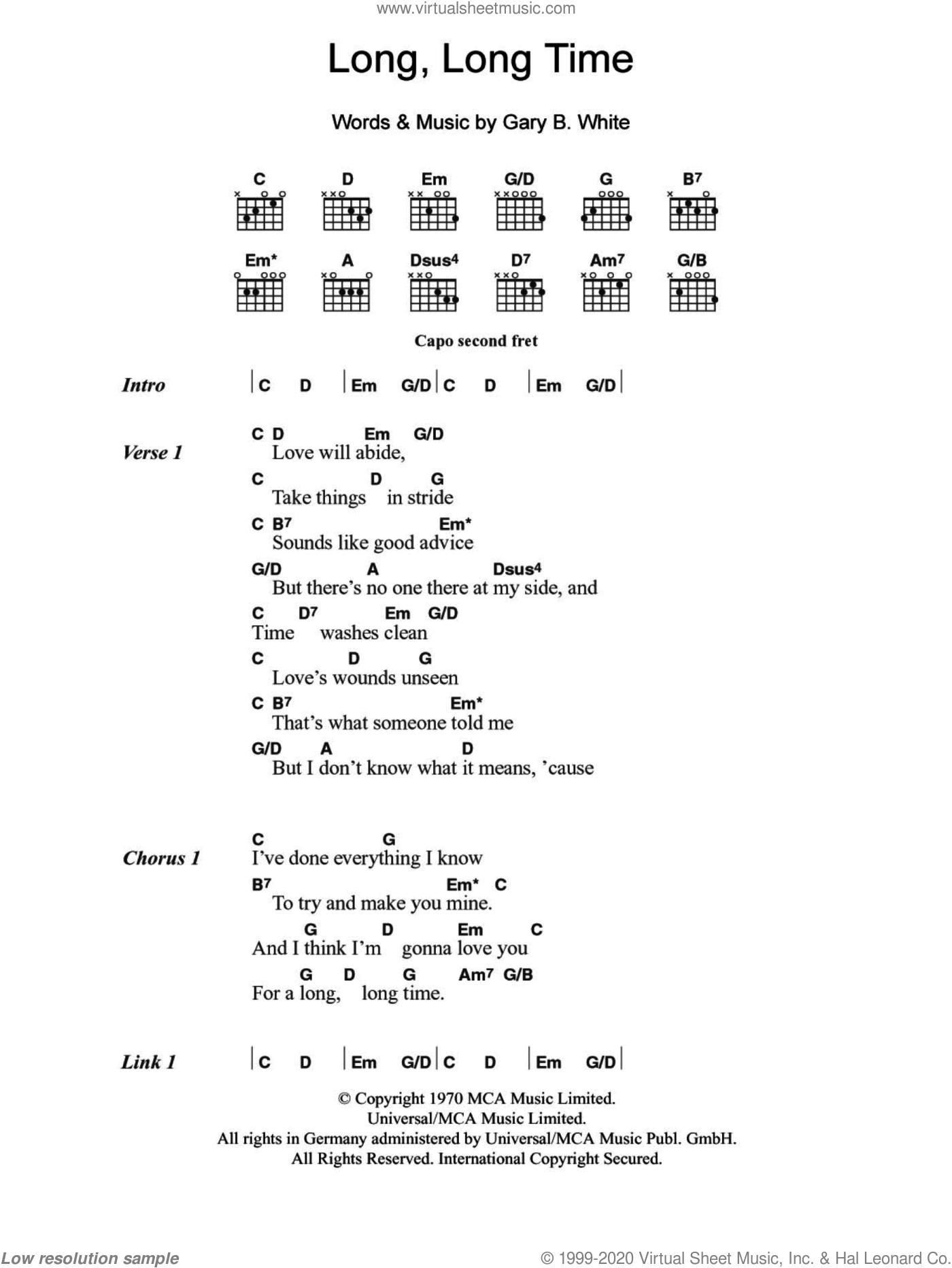 Ronstadt   Long Long Time sheet music for guitar chords [PDF]