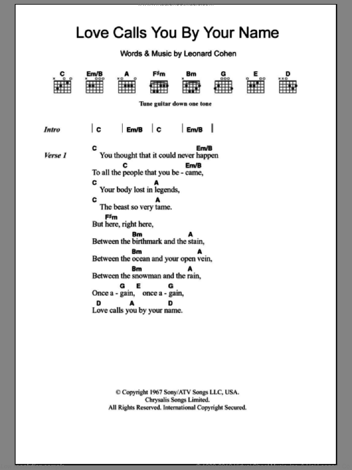 Love Calls You By Your Name sheet music for guitar (chords) by Leonard Cohen