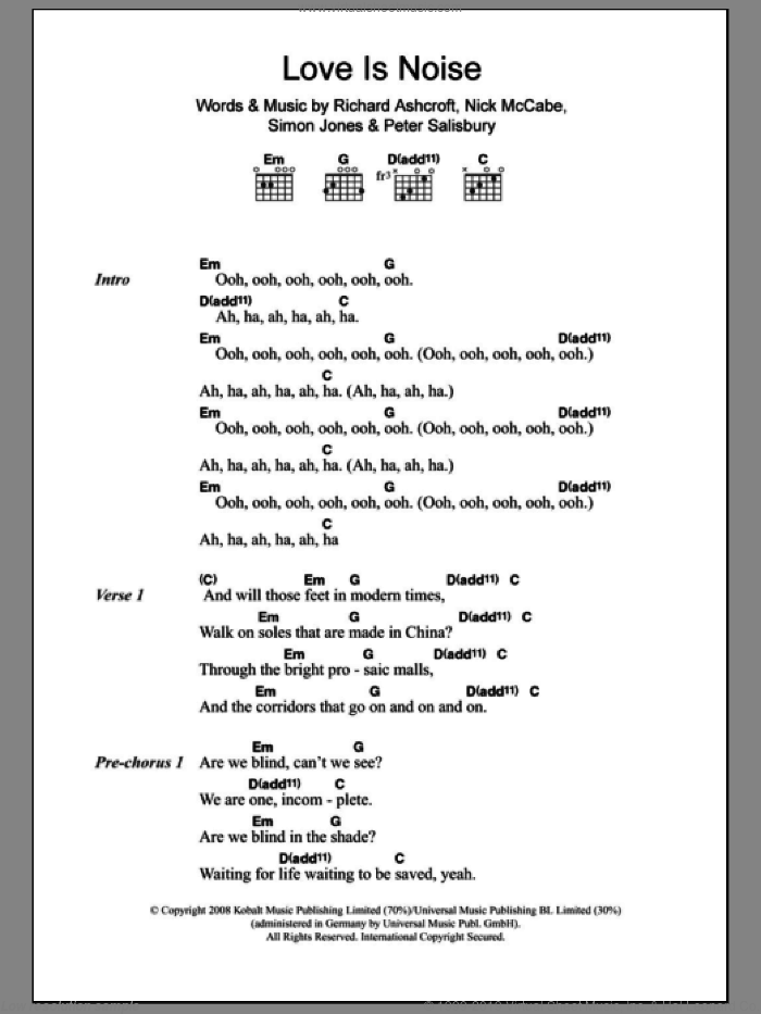Love Is Noise sheet music for guitar (chords) by The Verve, Nick McCabe, Peter Salisbury, Richard Ashcroft and Simon Jones, intermediate skill level