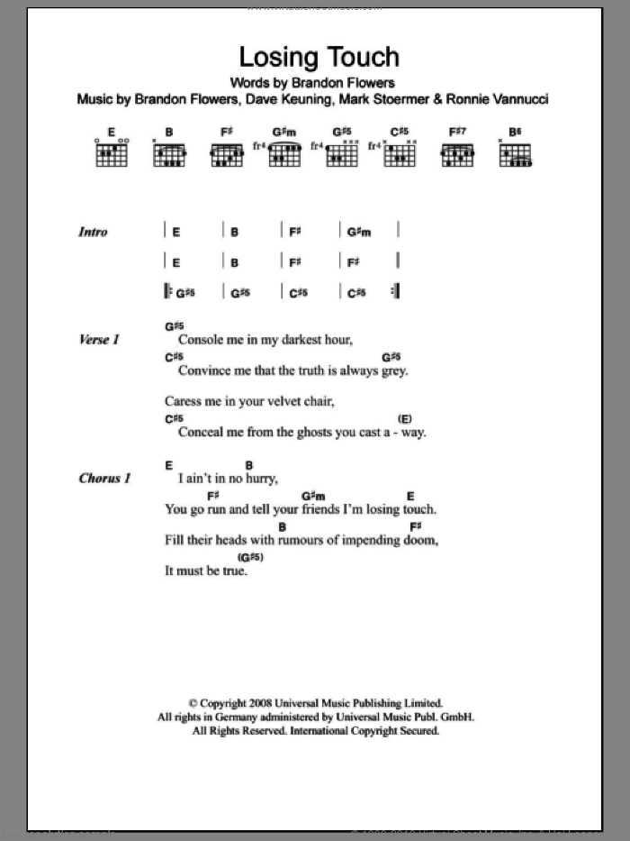 Losing Touch sheet music for guitar (chords) by The Killers and Brandon Flowers. Score Image Preview.