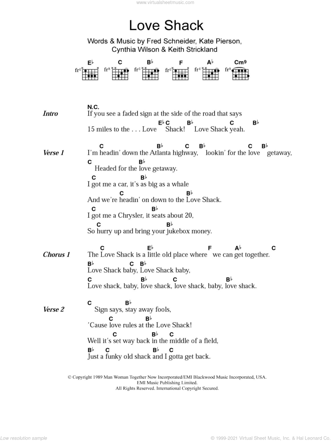 Love Shack sheet music for guitar (chords) by The B-52's. Score Image Preview.