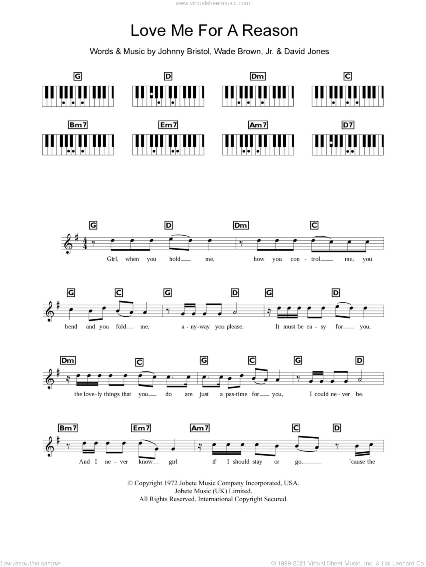 Love Me For A Reason sheet music for piano solo (chords, lyrics, melody) by Wade Brown