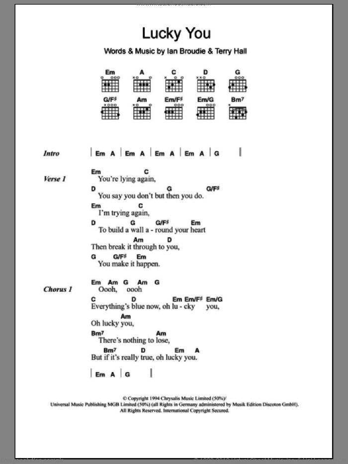 Lucky You sheet music for guitar (chords) by The Lightning Seeds, intermediate. Score Image Preview.
