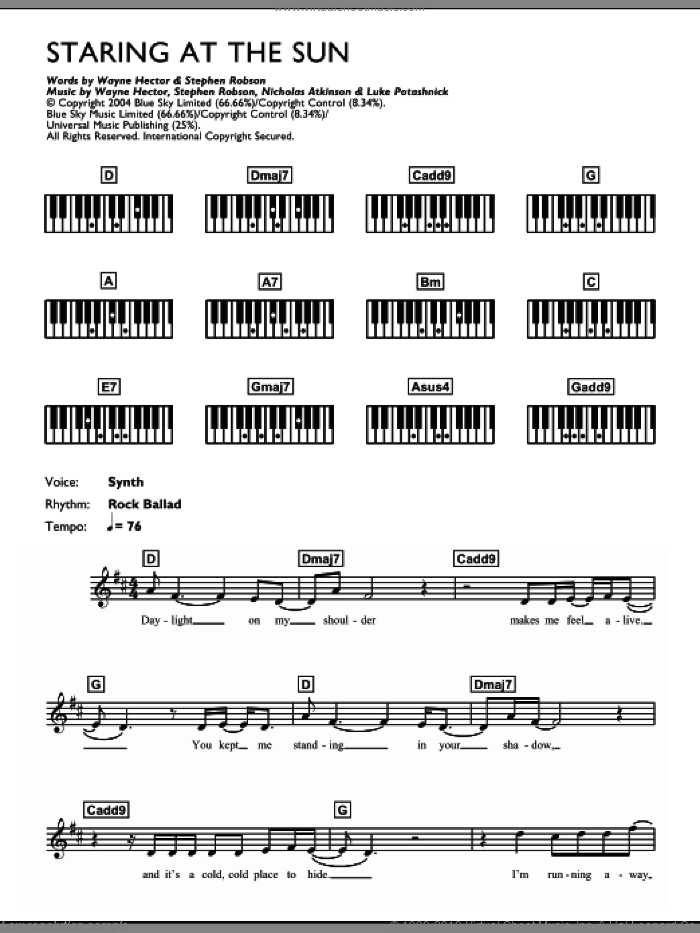 Staring At The Sun sheet music for piano solo (chords, lyrics, melody) by U2, intermediate piano (chords, lyrics, melody). Score Image Preview.