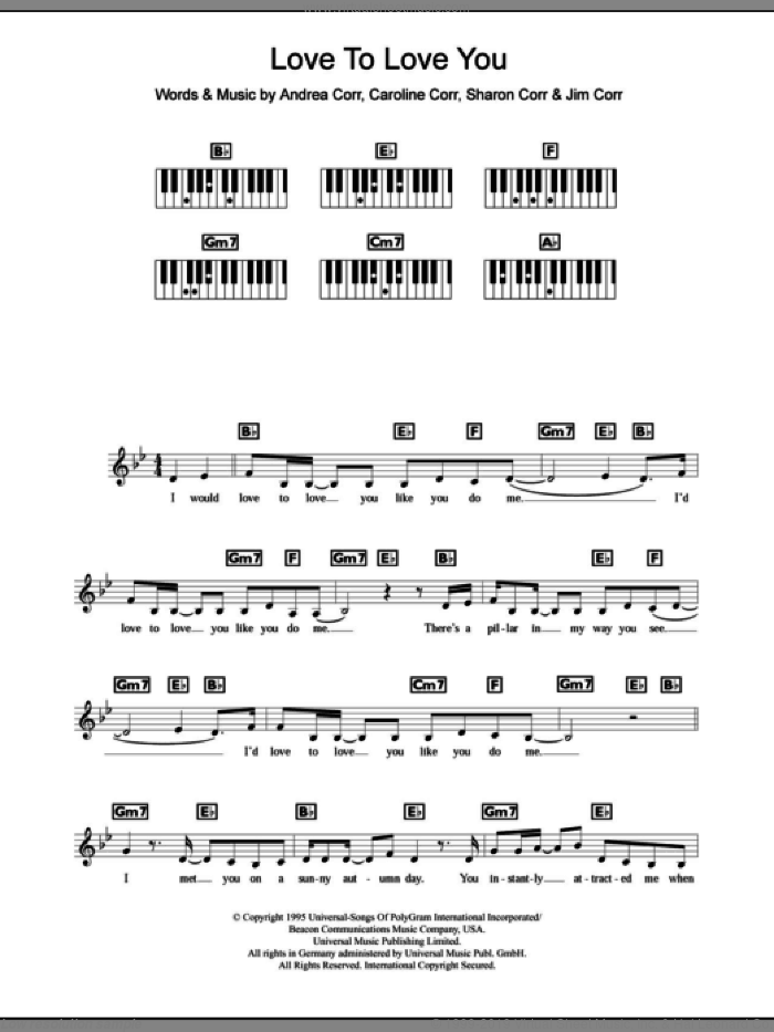 Love To Love You sheet music for piano solo (chords, lyrics, melody) by Sharon Corr, The Corrs and Andrea Corr. Score Image Preview.