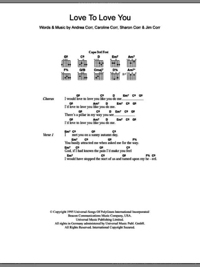 Love To Love You sheet music for guitar (chords) by The Corrs and Andrea Corr. Score Image Preview.