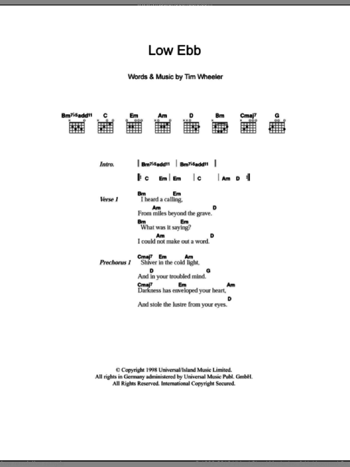 Low Ebb sheet music for guitar (chords) by Tim Wheeler. Score Image Preview.